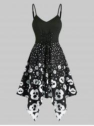 Halloween Skull Spotty High Waist Asymmetrical Cami Dress -