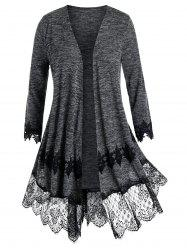 Plus Size Lace Panel Embroidery Cardigan -
