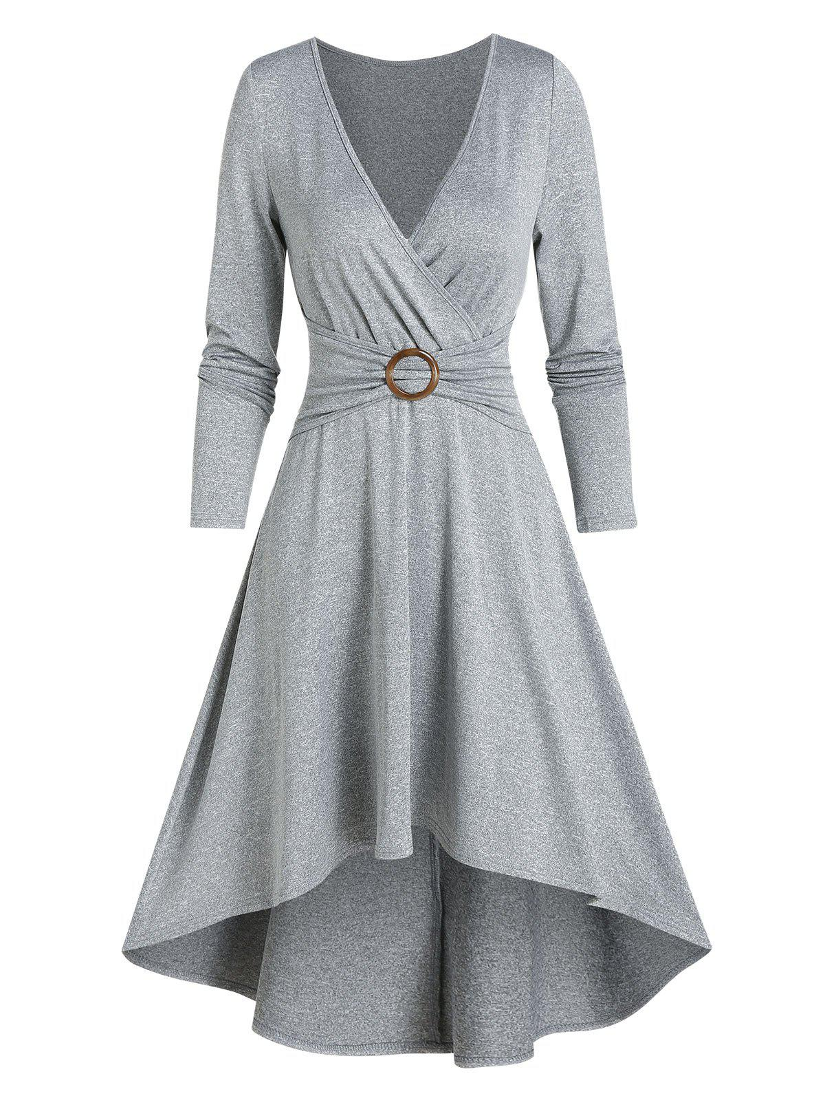 Best Casual High Low O Ring Wrap Dress