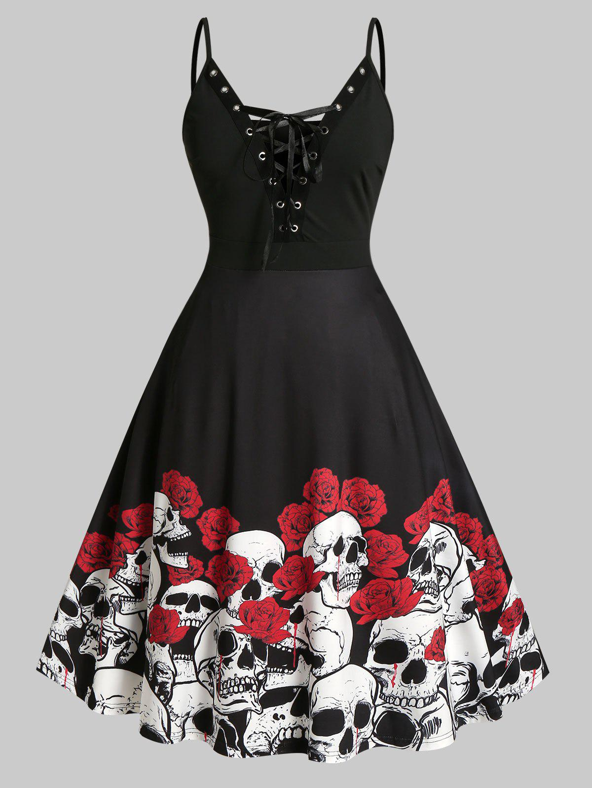 Fashion Plus Size Halloween Grommet Lace-up Flower Skull Midi Dress