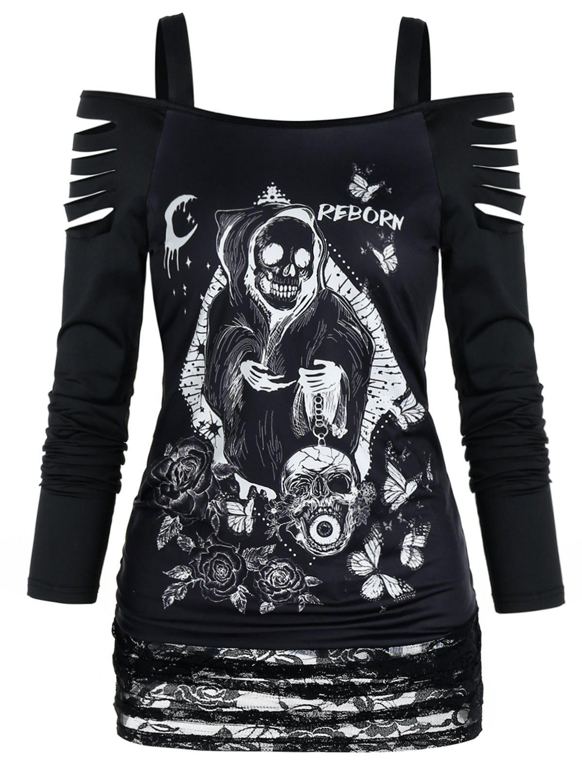 Gothic Skull Print Cold Shoulder Lace Panel Top фото