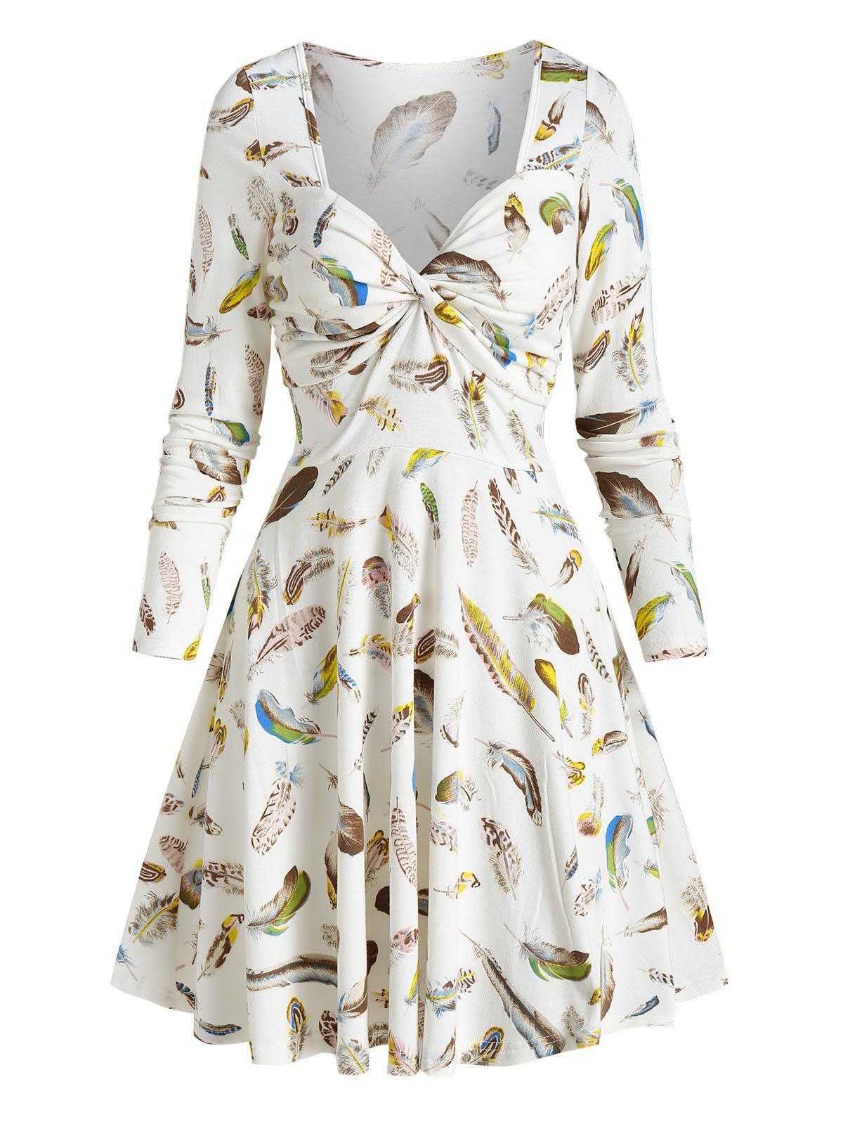 Discount Feather Printed Sweetheart Neck Twist Dress