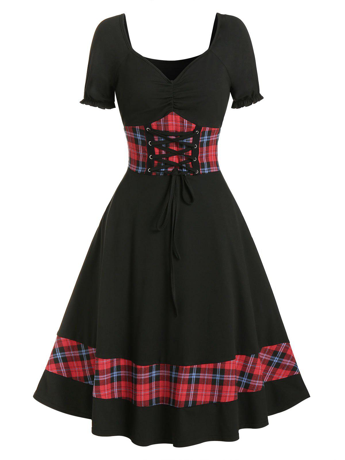 Hot Plaid Panel Cinched Ruched Bust Rockabilly Dress