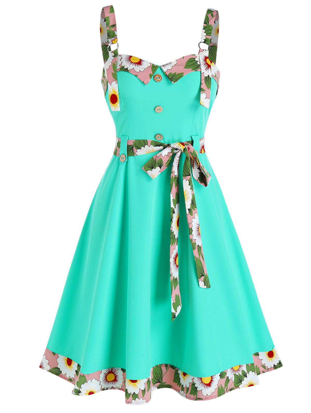 Best Sleeveless Floral Trim Mock Button Knotted Dress