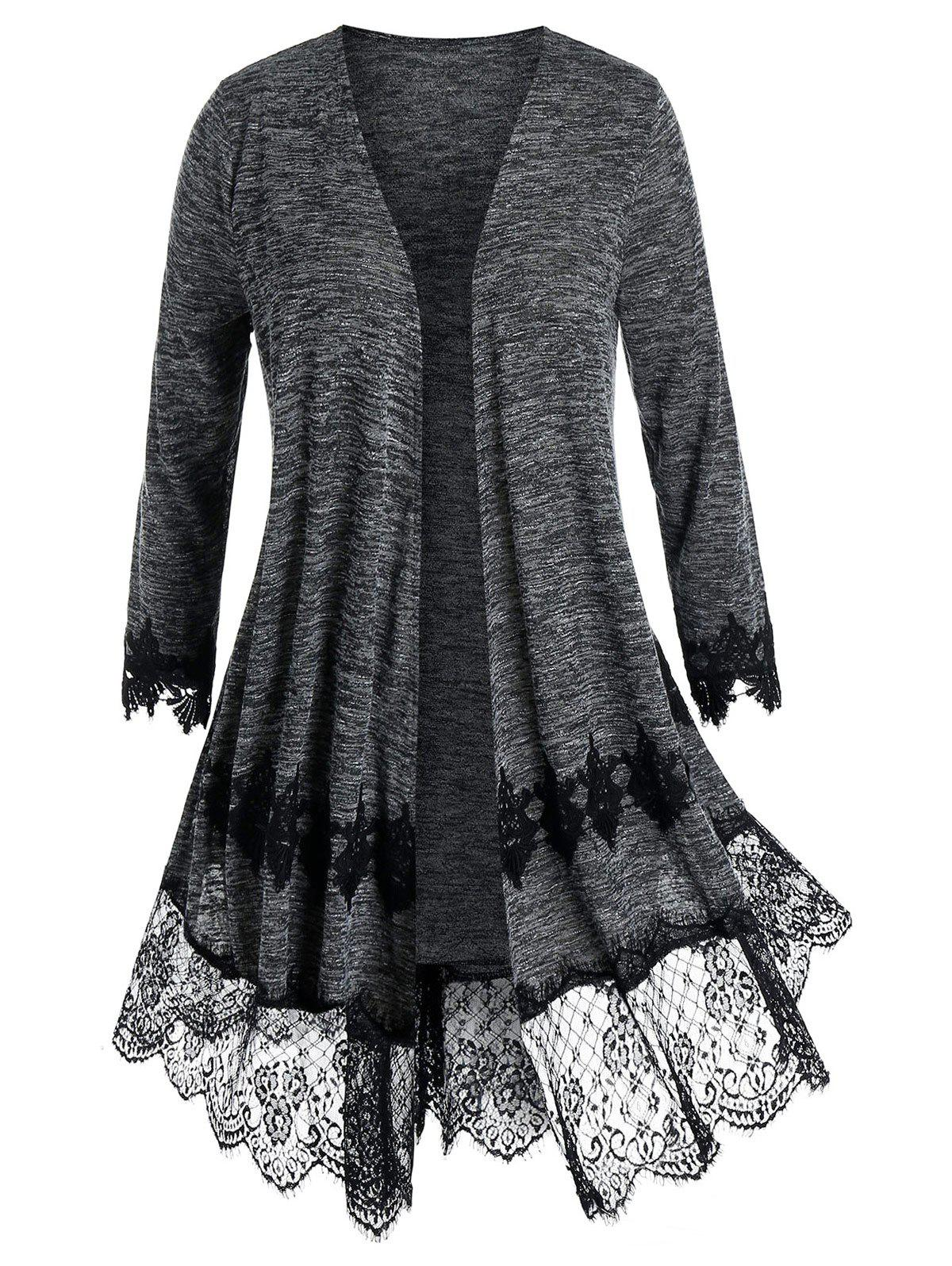 Affordable Plus Size Lace Panel Embroidery Cardigan