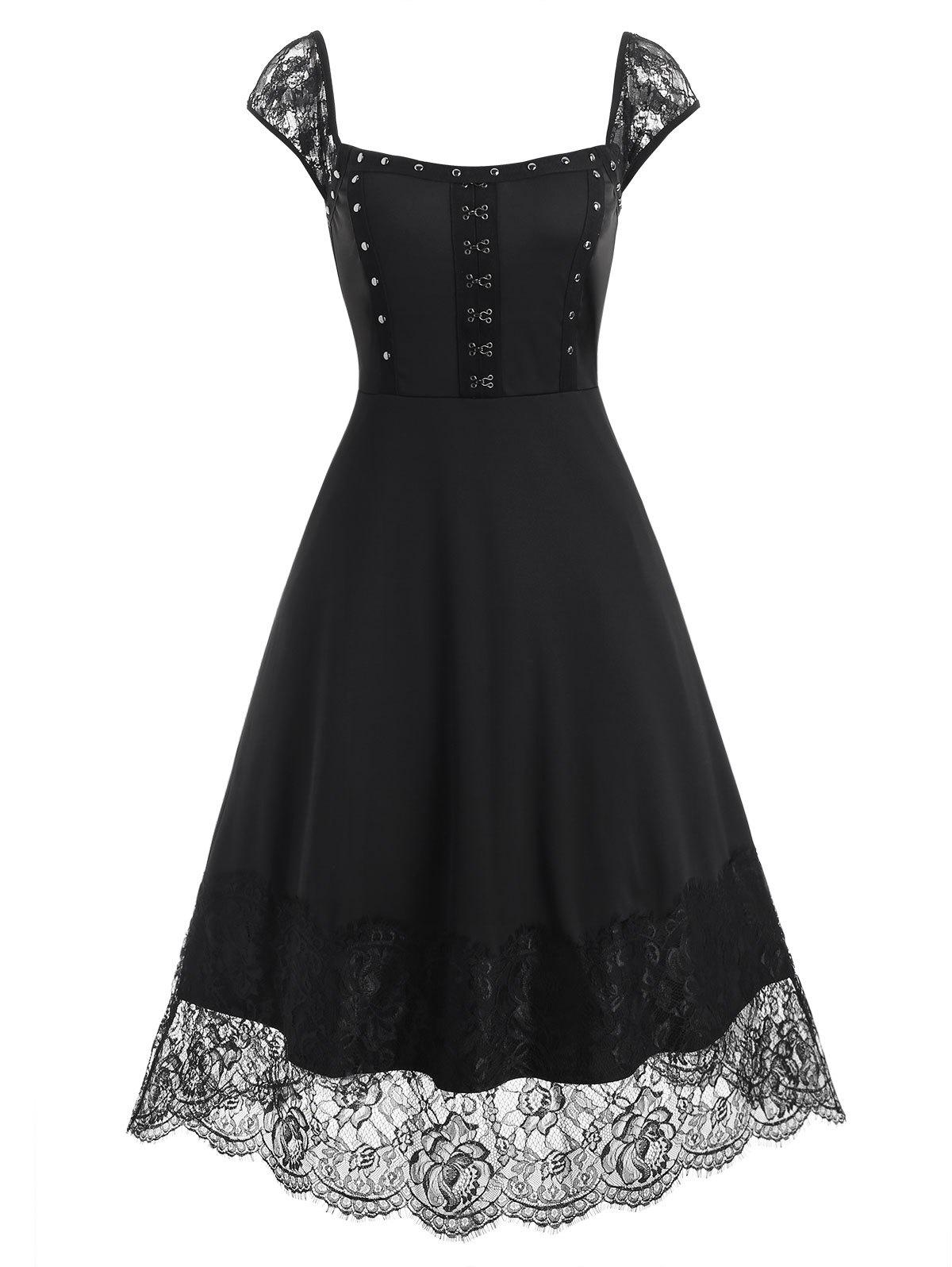 Outfits Lace Panel Hook and Eye Rivets Midi Dress