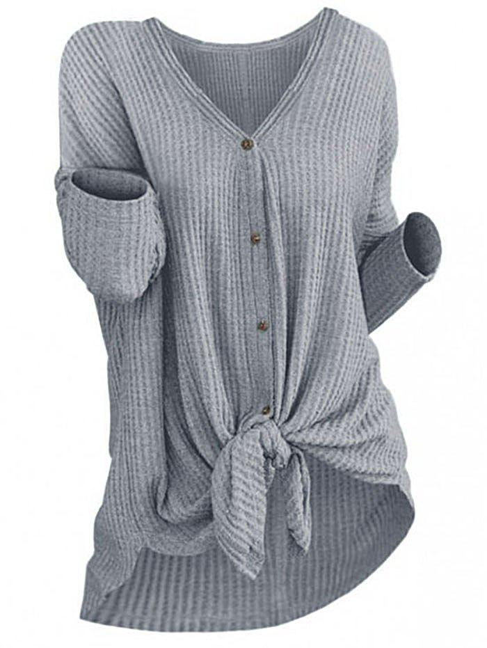 Outfits Casual Knitted Button Knot Top