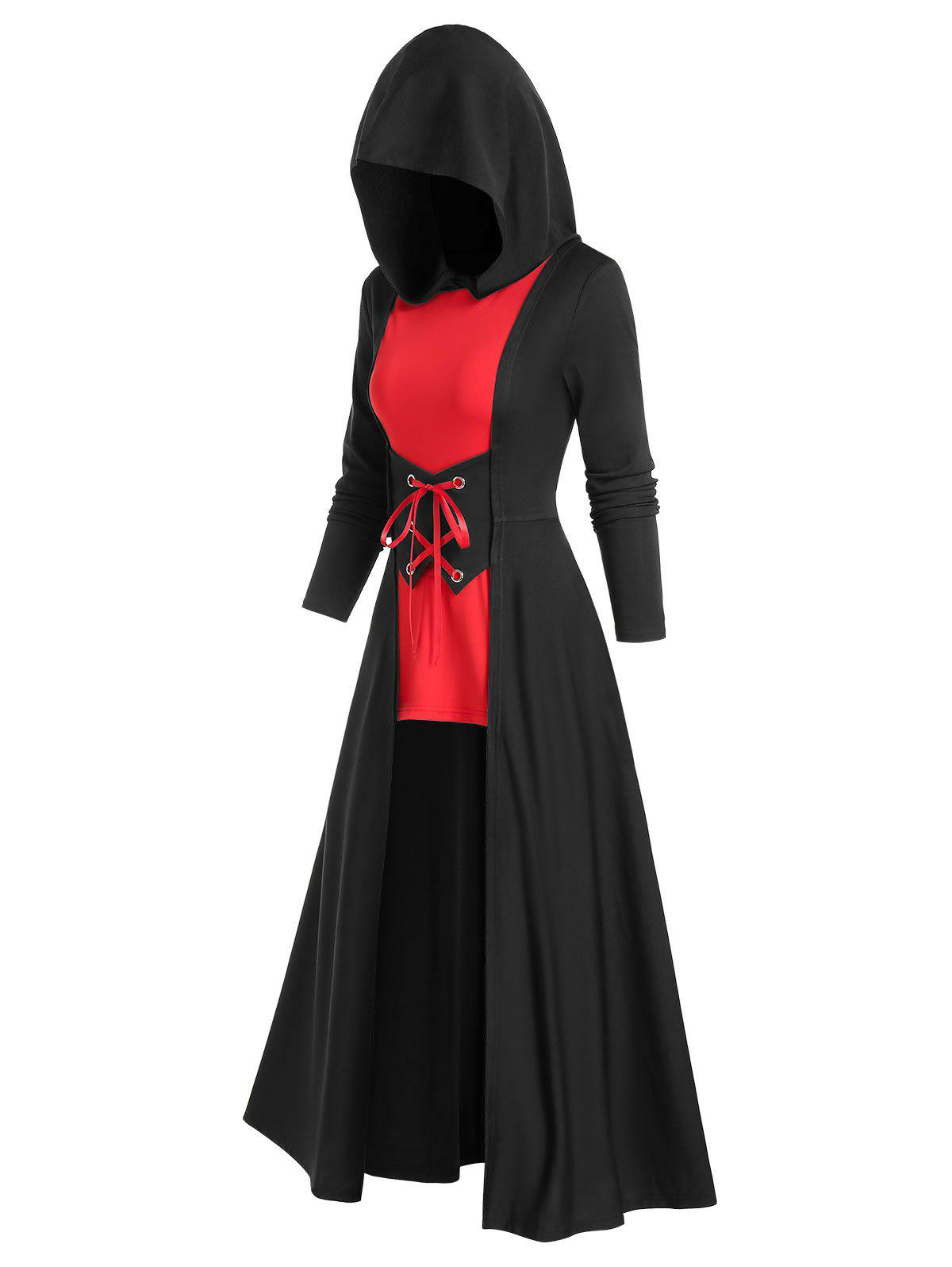 Chic Gothic Hooded Cinched Two-tone Cloak Dress