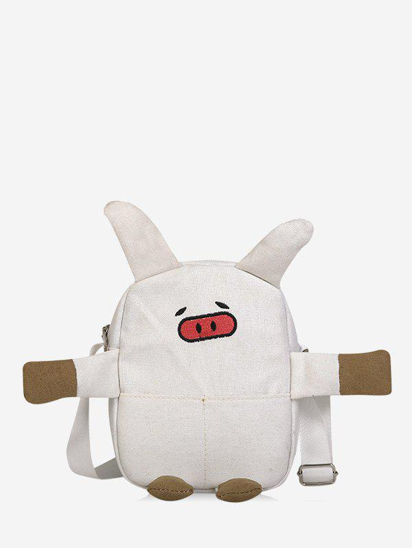 Online Cartoon Pig Shape Canvas Crossbody Bag