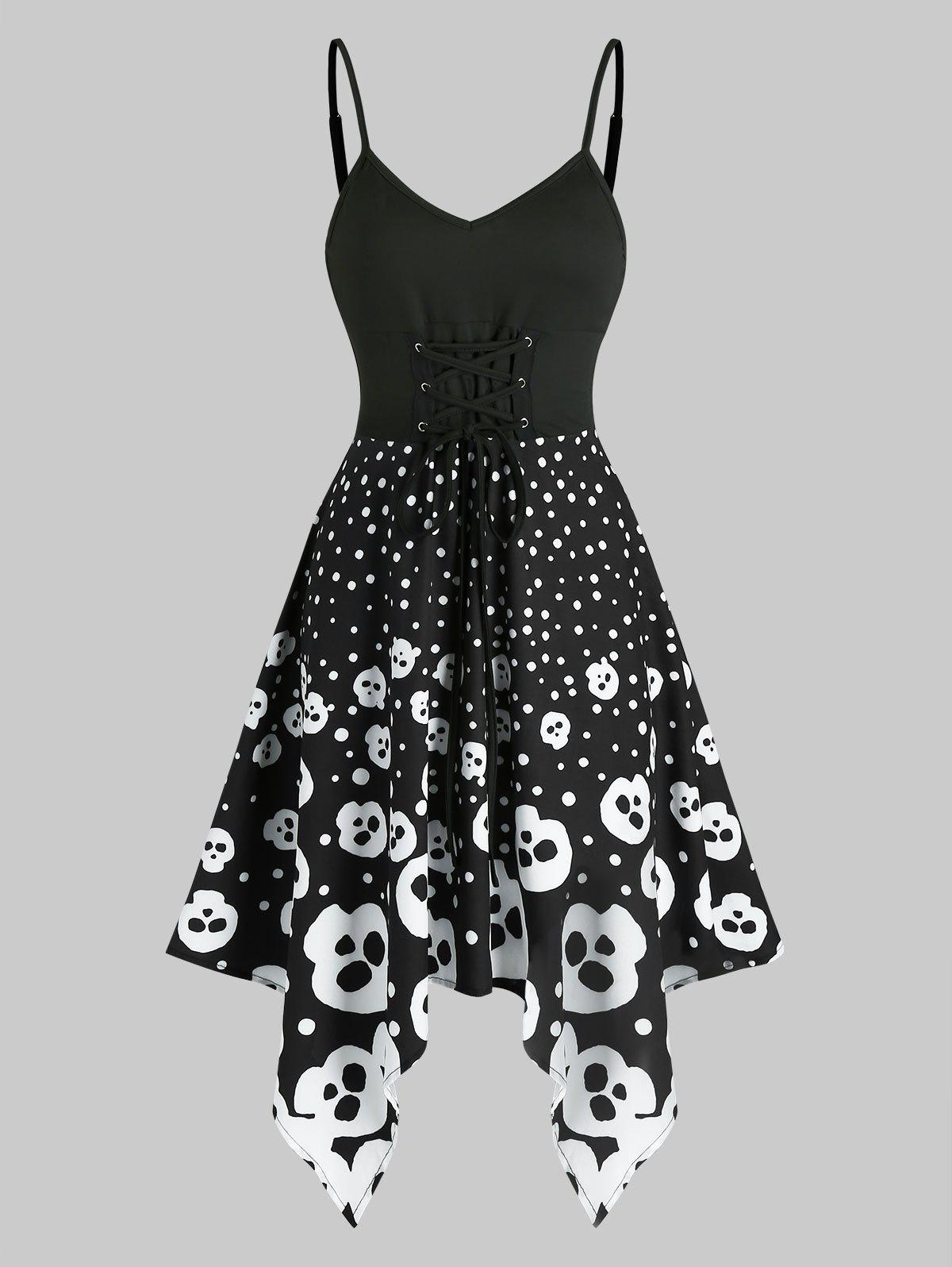 Outfits Halloween Skull Spotty High Waist Asymmetrical Cami Dress