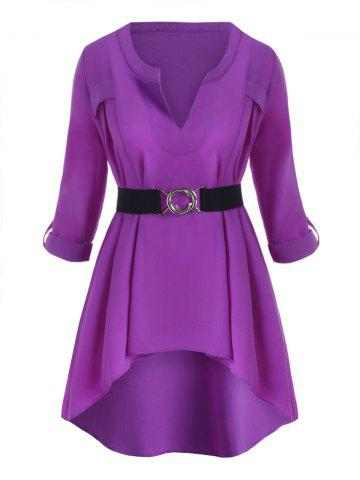 Plus Size High Low Roll Up Sleeve Top - PURPLE - 5X