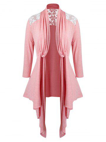 Plus Size Lace Insert Twisted Open Front Asymmetrical Cardigan - FLAMINGO PINK - 5X
