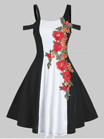 Cold Shoulder Two Tone Embroidered Dress
