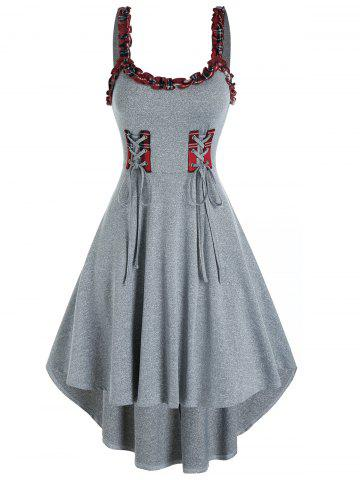 Plaid Ruffled Trim Lace Up Cami High Low Dress