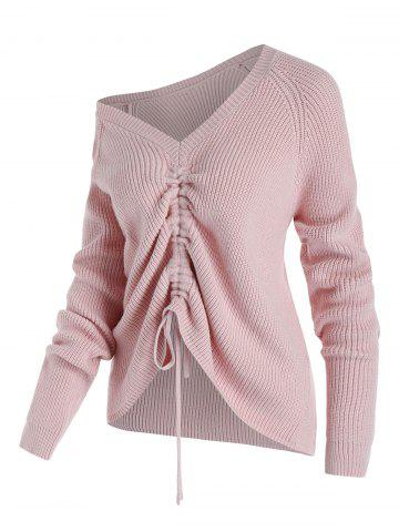 Plus Size Skew Collar Cinched Tie Raglan Sleeve Sweater - LIGHT PINK - 5X