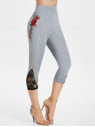 Flower Embroidered Lace Insert Capri Leggings -
