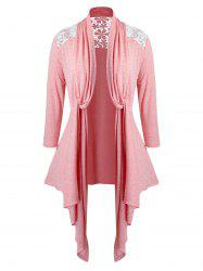 Plus Size Lace Insert Twisted Open Front Asymmetrical Cardigan -