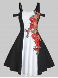 Cold Shoulder Two Tone Embroidered Dress -