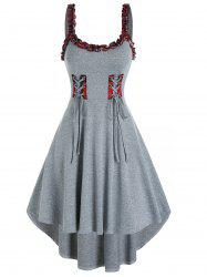 Plaid Ruffled Trim Lace Up Cami High Low Dress -