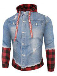 Plaid Ripped Doctor Sleeve Hooded Jean Jacket -