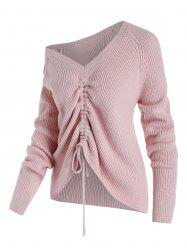 Plus Size Skew Collar Cinched Tie Raglan Sleeve Sweater -