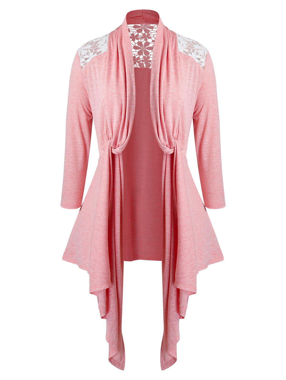 Store Plus Size Lace Insert Twisted Open Front Asymmetrical Cardigan