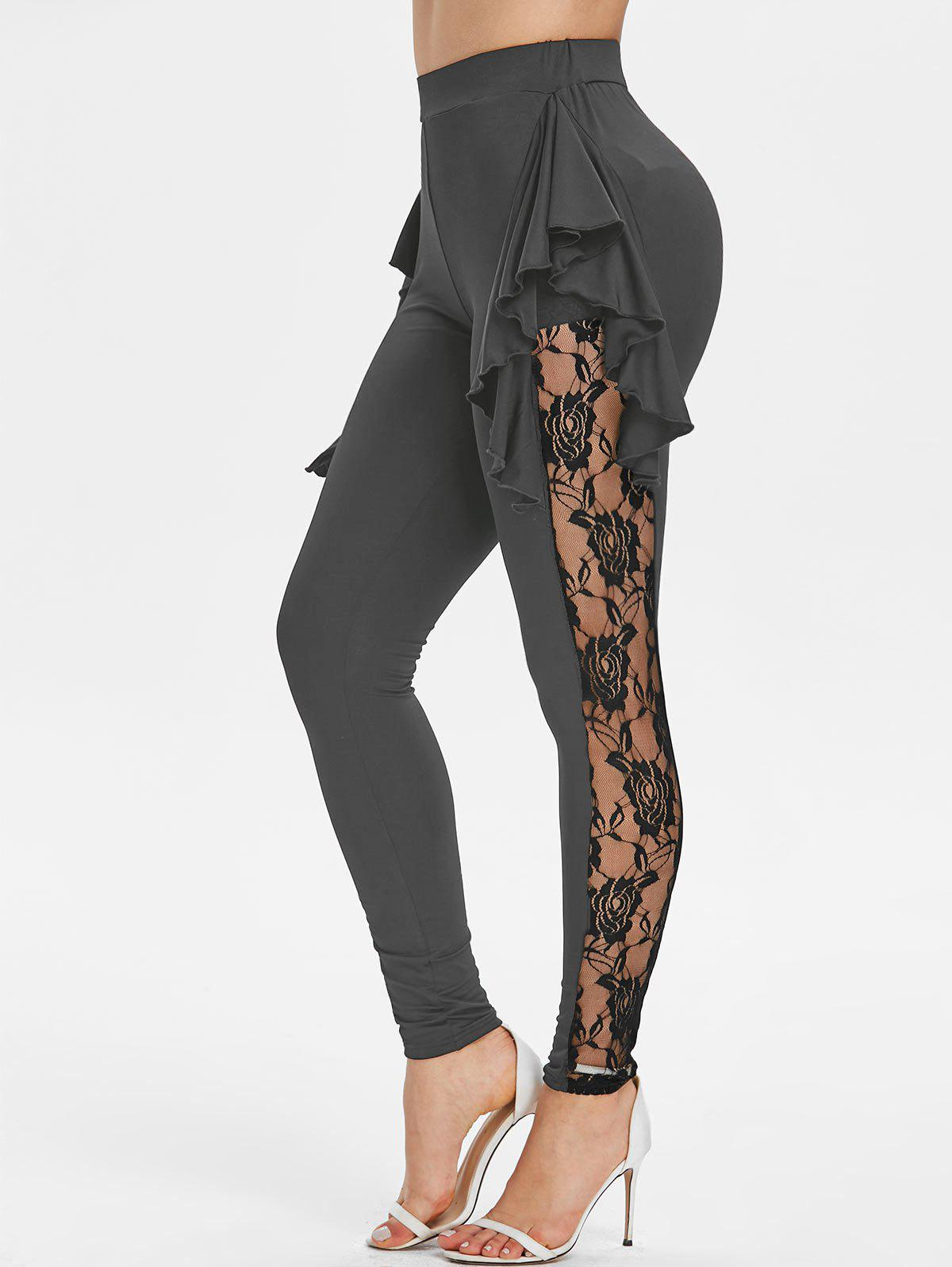 Outfits Flower Lace Insert Skinny Flounced Leggings
