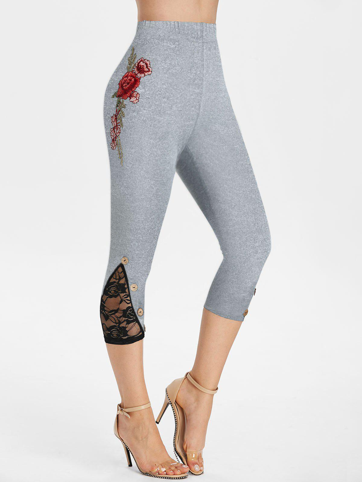 Buy Flower Embroidered Lace Insert Capri Leggings