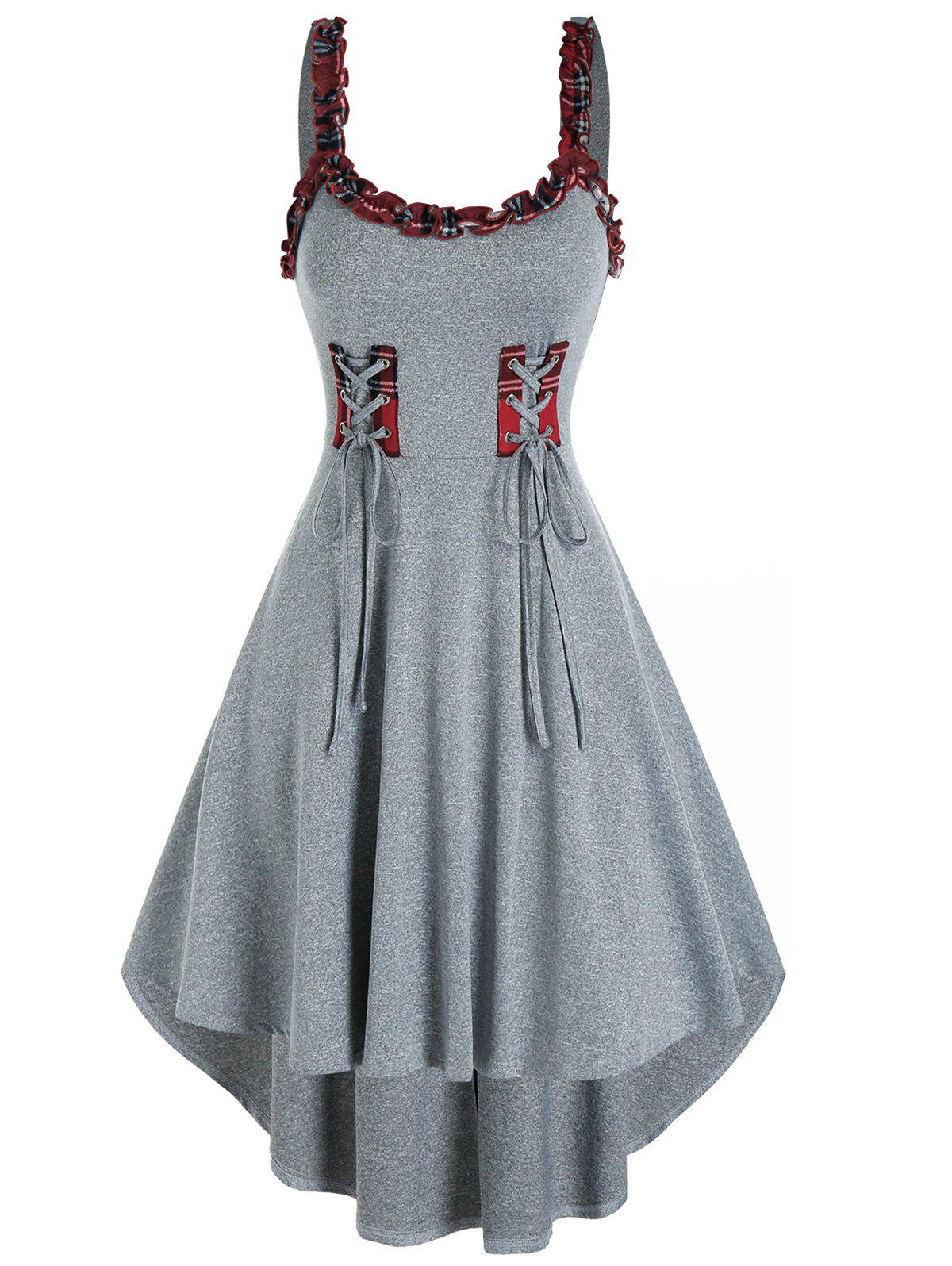 Store Plaid Ruffled Trim Lace Up Cami High Low Dress