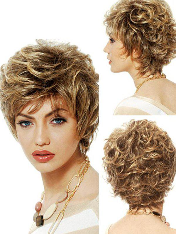 Cheap Fluffy Short See-through Bang Curl Synthetic Pixie Wig