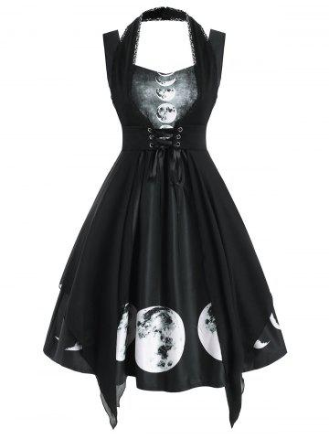 Sweetheart Lunar Eclipse Print Dress with Lace Panel Corset