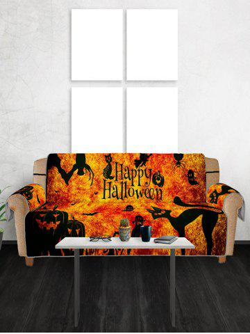 Halloween Pumpkin Cat Patterned Couch Cover
