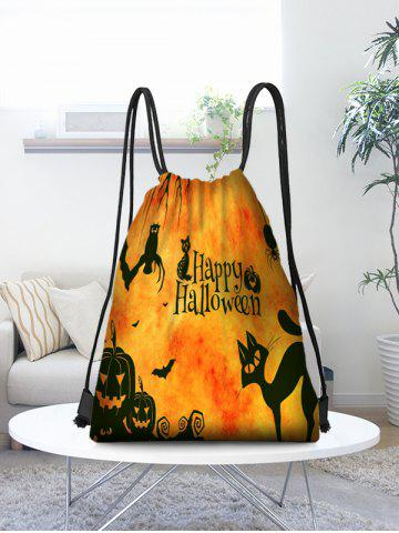Halloween Pumpkin Print Drawstring Candy Bag