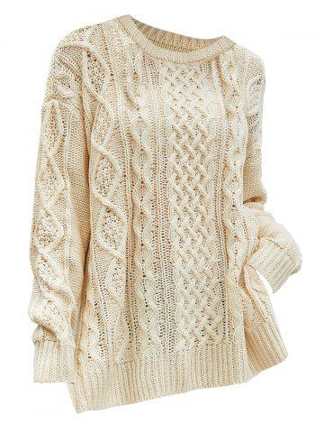 Plus Size Chunky Side Slit Cable Knit Sweater - LIGHT YELLOW - M