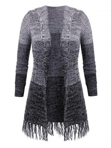 Plus Size Fringed Longline Cardigan - BLACK - L