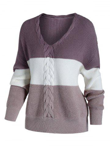Plus Size Color Blocking Cable Chunky Knit Drop Shoulder Sweater - LIGHT PINK - 1X
