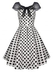 Lace Panel Tied Cap Sleeve Polka Dot Vintage Dress -
