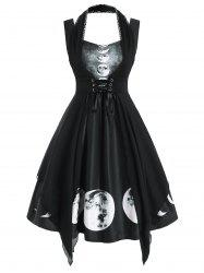 Sweetheart Lunar Eclipse Print Dress with Lace Panel Corset -