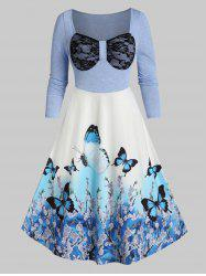 2 in 1 Butterfly Print Lace Bowknot Mid Calf Dress -