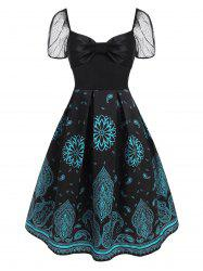 Lace Puff Sleeve Flower Paisley Print Bowknot Dress -