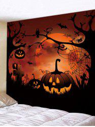 Halloween Pumpkin Moon Pattern Wall Tapestry -