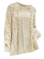 Plus Size Chunky Side Slit Cable Knit Sweater -