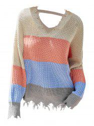 Plus Size Frayed Colorblock Sweater -