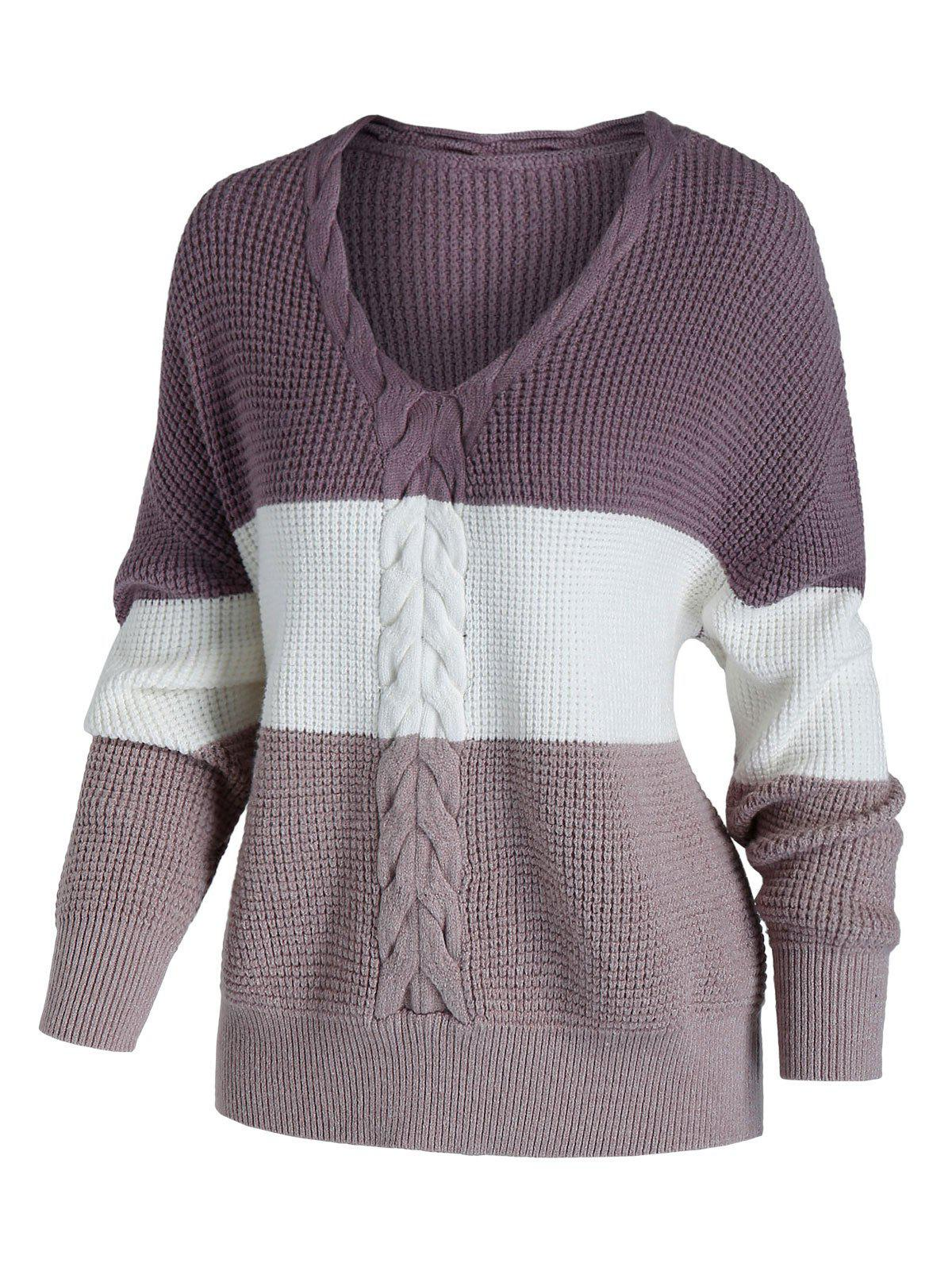 Affordable Plus Size Color Blocking Cable Chunky Knit Drop Shoulder Sweater