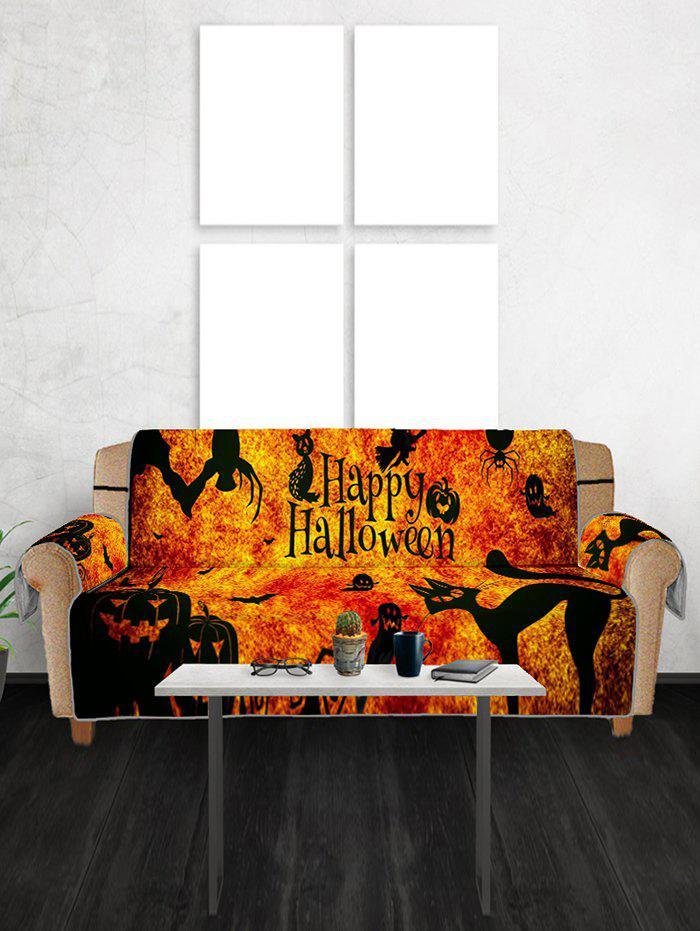 Cheap Halloween Pumpkin Cat Patterned Couch Cover
