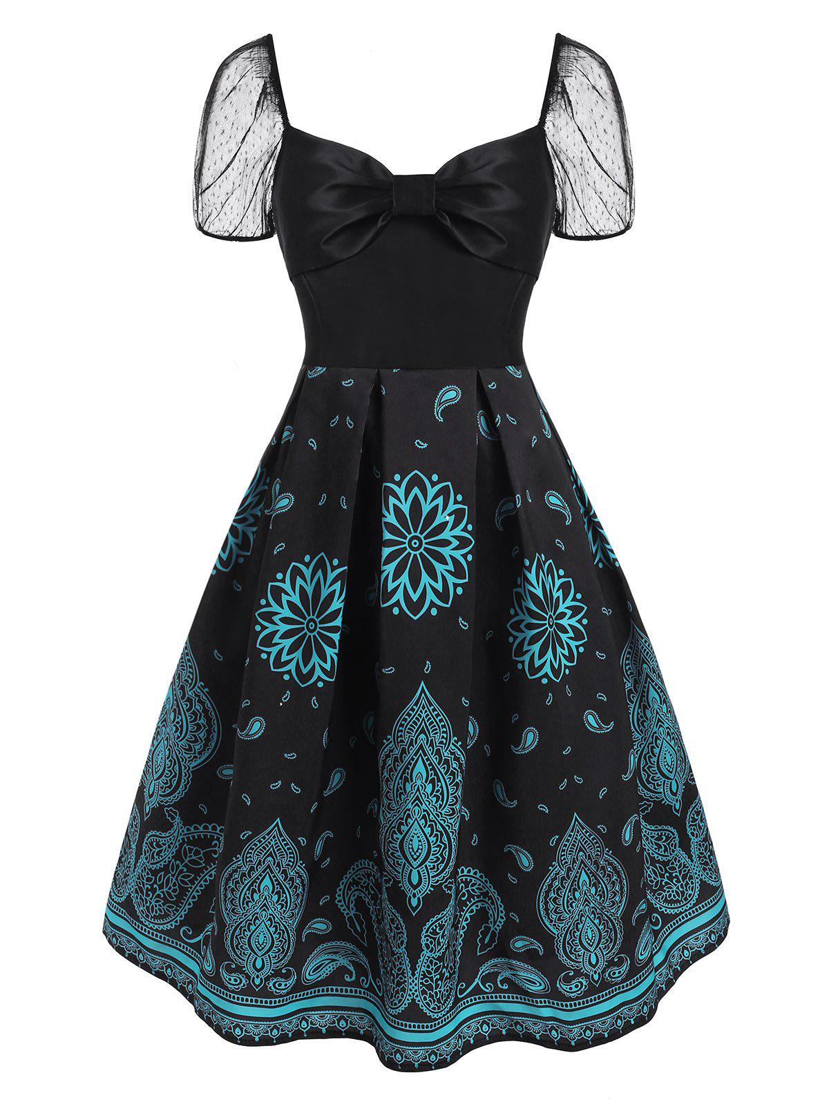 Sale Lace Puff Sleeve Flower Paisley Print Bowknot Dress