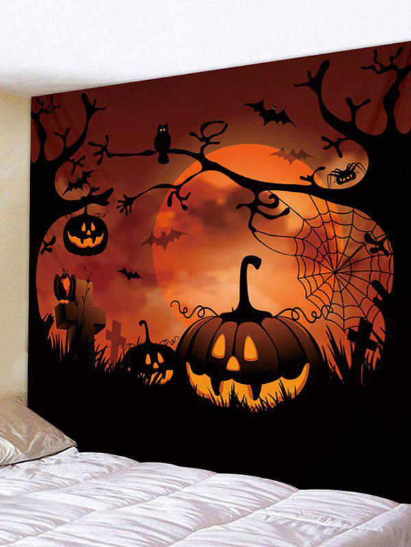 Hot Halloween Pumpkin Moon Pattern Wall Tapestry