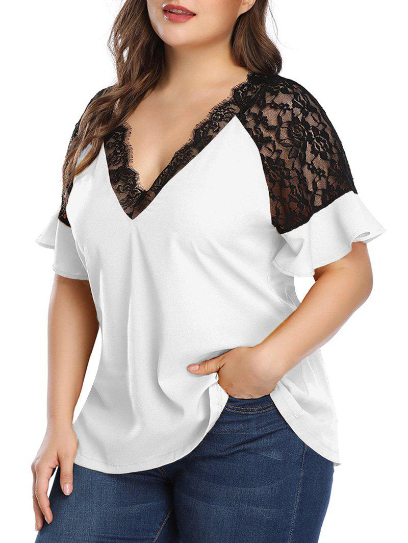 Latest Plus Size Lace Insert Plunging Neck Blouse