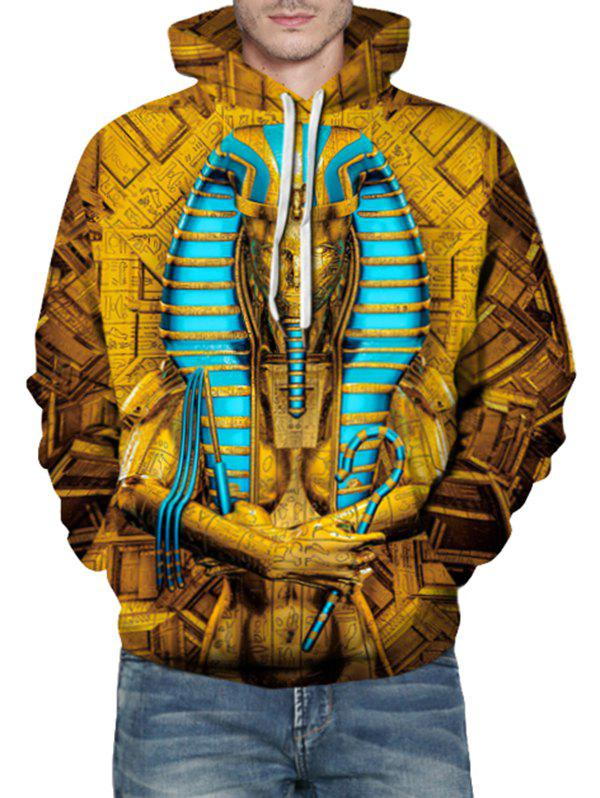Sweat à Capuche Pharaons de l'Egypte Ancien Imprimé avec Poche Kangourou Orange d'Or 3XL