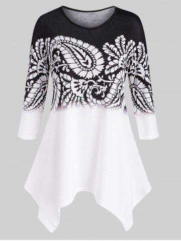 Handkerchief Paisley Printed Plus Size Top - BLACK - 3X